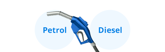blue petrol pump with petrol and diesel written in blue circles