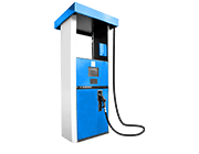 Blue and white petrol pump