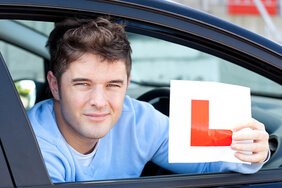 Young man with L plate