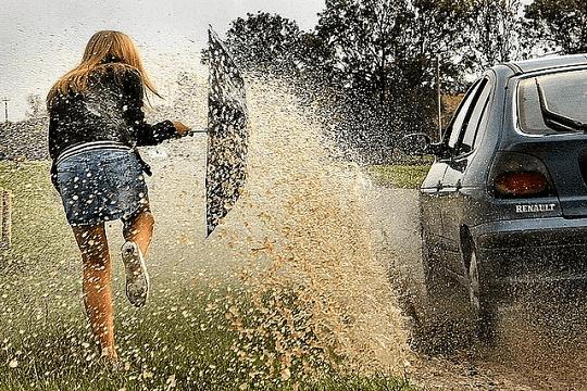 Car splashing