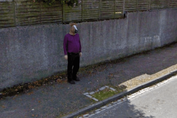Horse man on street view