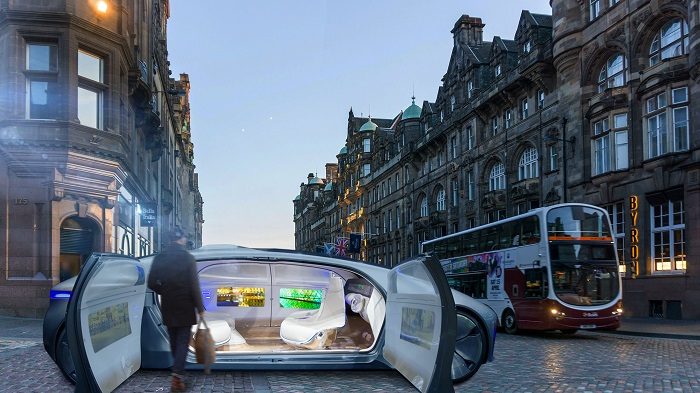 Concept of driverless taxi in Edinburgh city centre