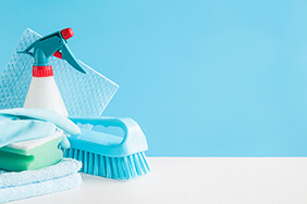cleaning products on a blue background