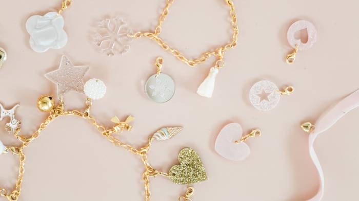A top down view of a collection of pretty jewellery