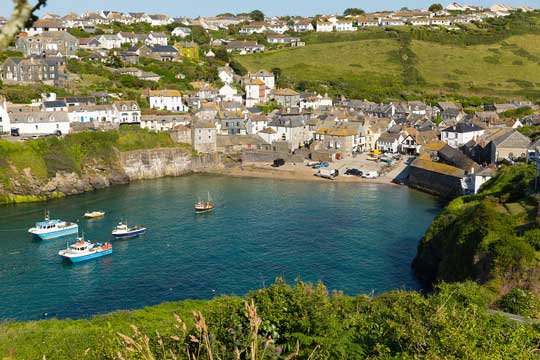 View of a seaside village in Cornwall