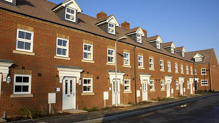 A row of new build terraced houses