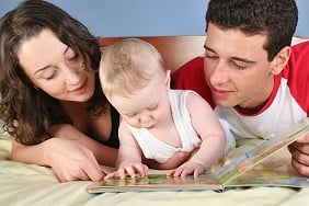 A young family reading