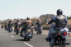 Motorcycle club on the motorway