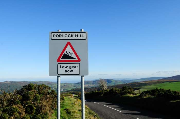 Porlock hill road sign showing steep gradient