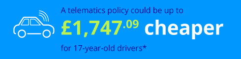 Telematics policy £1,747.09 cheaper for 17-year-old drivers*