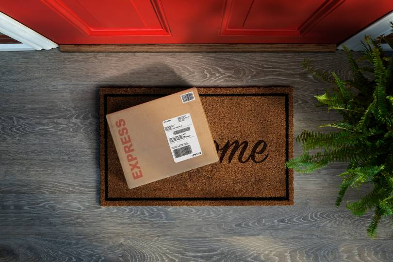 A parcel left on a door step