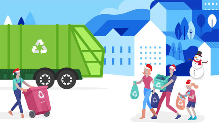 Illustration of a family with Christmas hats taking their rubbish to be recycled.