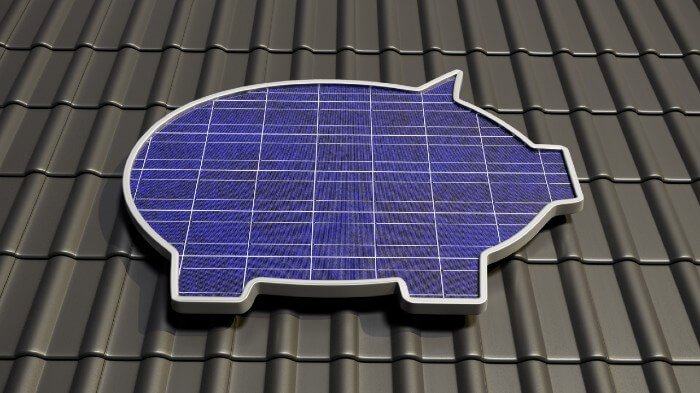 Money bank pig as solar panel