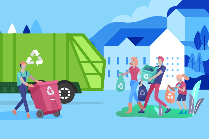 Stylised illustration showing family recycling their rubbish.