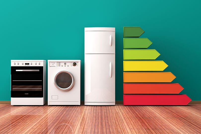 An oven, washing machine and fridge-freezer stood side by side, next to a graph showing energy efficiency ratings
