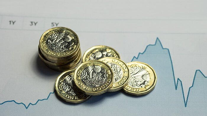 A stack of pound coins on a background showing financial trends
