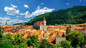 A view of Brasov, Romania from the air