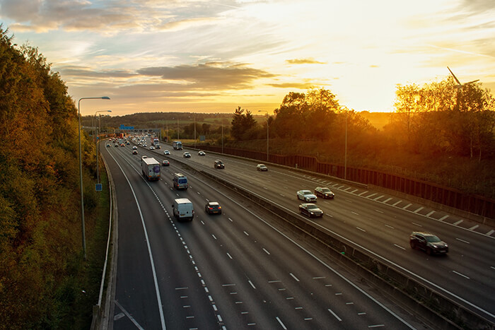 Cars on the motorway