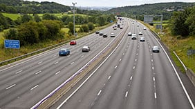 Cars driving on a section of smart motorway