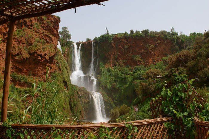 A view of Ouzoud Falls on a grey day