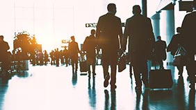 People travelling through the airport
