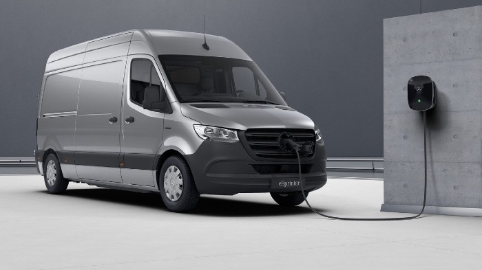 Mercedes e-sprinter parked up charging