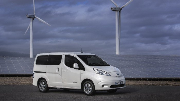 Nissan Env200 in front of a wind farm