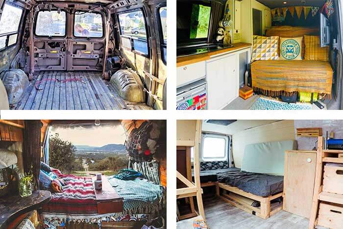 Interior of four vans at different stages of being converted