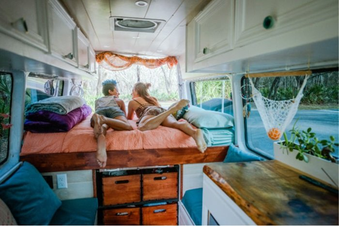 The inside of a campervan