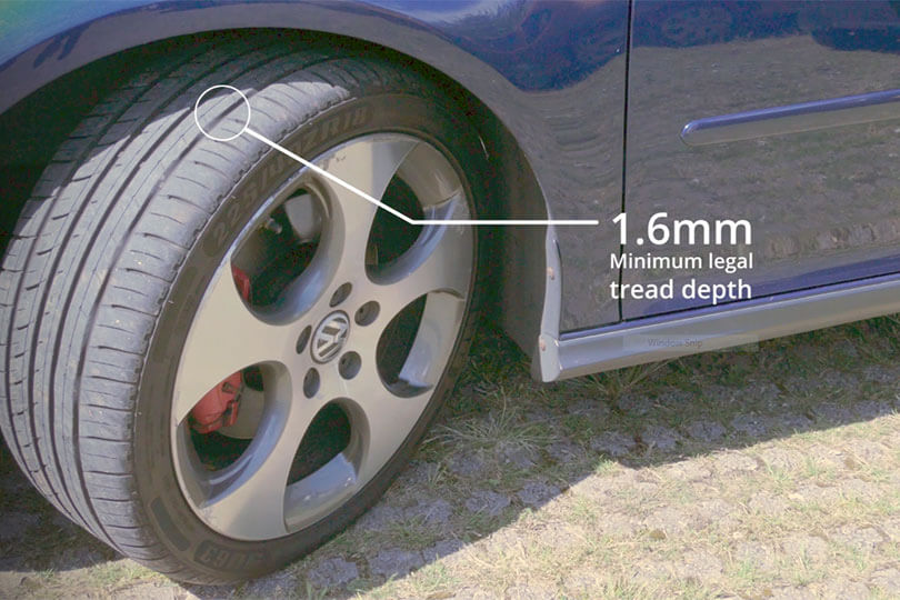 Minimum tyre tread depth - 1.6mm