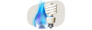 An energy saving bulb and a blue flame