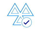 Dark blue icon of a warning symbol with a tick