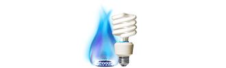 Gas flame and electricity bulb